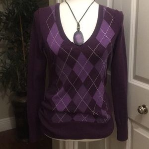 Gap Dimond Print Purple Long Sleeve Sweater